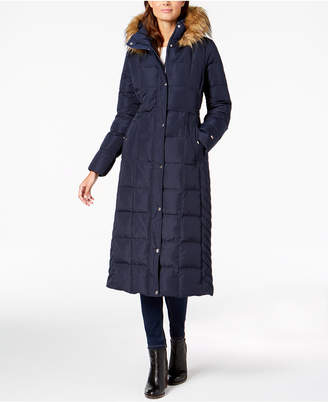 Tommy Hilfiger Faux-Fur-Trim Maxi Puffer Coat