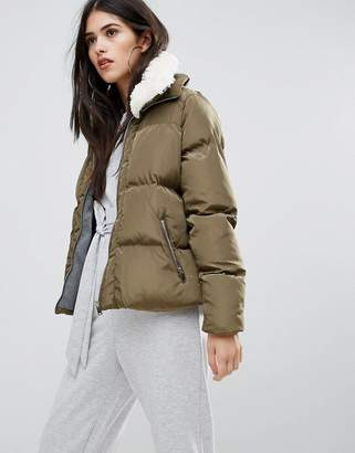 Missguided Khaki Padded Faux Shearling Collar Bomber Jacket