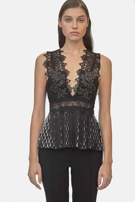 Yigal Azrouel Studded Coral Emboridery Pleated Top