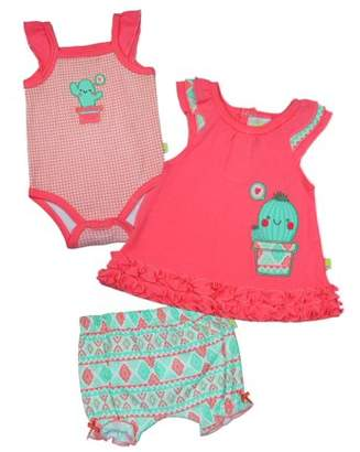 Duck Duck Goose Baby Girl Swing Top, Bodysuit & Bubble Shorts, 2pc Outfit Set