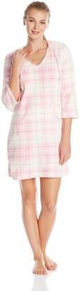 Nautica Sleepwear Women's Plush Plaid Hoodie Chemise