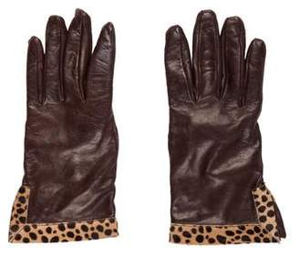 Bergdorf Goodman Leather Ponyhair Gloves