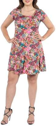 24/7 Comfort Apparel 24Seven Comfort Apparel Margaret Pink Floral Fit and Flare Plus Size Mini Dress