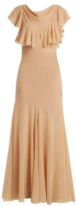 Maison Margiela Ruffled Sleeve Bias Cut Layered Chiffon Dress - Womens - Nude