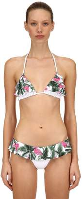 MC2 Saint Barth Flamingo Palm Print Triangle Bikini Top