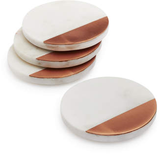 Sur La Table White Marble and Rose Gold Coasters