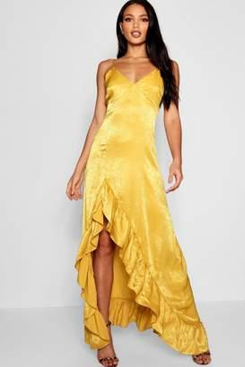 boohoo Hammered Satin Ruffle Maxi Dress