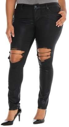 SLINK Jeans Destroyed Coated Skinny Jeans (Plus Size)