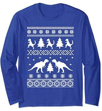 Dinosaur Snowflakes Ugly Sweater Christmas Long Sleeve Shirt