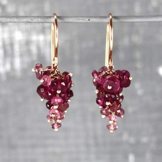 Kate Wood Jewellery Pink Tourmaline And Rose Gold Vermeil Grape Earrings