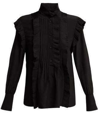 Chloé High Neck Ruffled Silk Blouse - Womens - Black