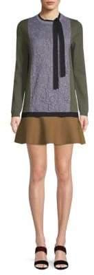 Valentino Front-Lace Sweater Mini Dress