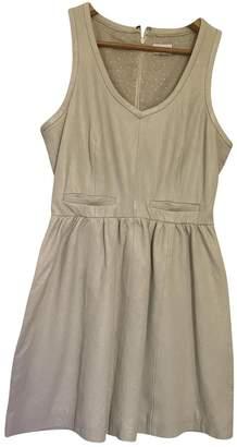 American Retro Ecru Leather Dress for Women
