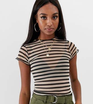 Asos Tall DESIGN Tall mesh short sleeve top in stripe