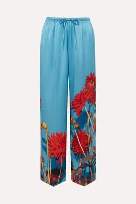 Dries Van Noten Puvis Floral-print Silk-satin Wide-leg Pants - Light blue