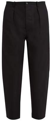 Valentino Logo Print Cotton Chino Trousers - Mens - Black