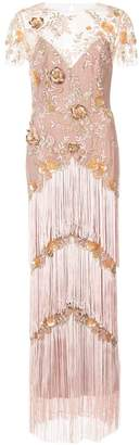 Marchesa fringed embroidered maxi dress