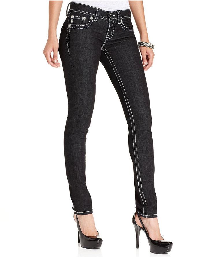 Miss Me Jeans, Skinny Dark-Wash Rhinestone