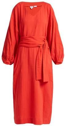 Rhode Resort - Delilah Cotton Midi Dress - Womens - Red