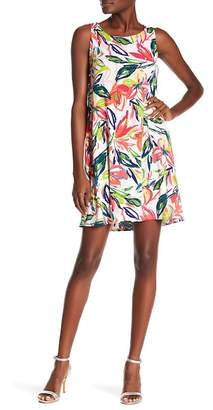 MSK Faux Pearl Printed Trapeze Dress