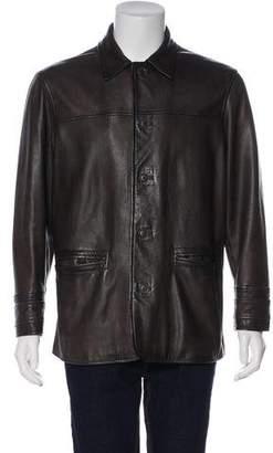 John Varvatos Leather Notch-Lapel Jacket