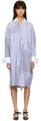 Loewe Blue and White Oversized Patchwork Shirt Dress