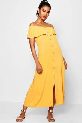 boohoo Off The Shoulder Button Front Dress