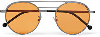 Cutler And Gross Cutler and Gross - Aviator-Style Silver-Tone Sunglasses - Orange