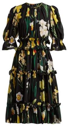 Dolce & Gabbana Daffodil Print Silk Crepe De Chine Dress - Womens - Black Multi