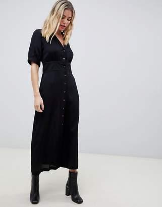 Asos Design DESIGN button through maxi tea dress with tortoiseshell buttons