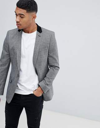Asos Design DESIGN skinny blazer in grey mini check with velvet collar