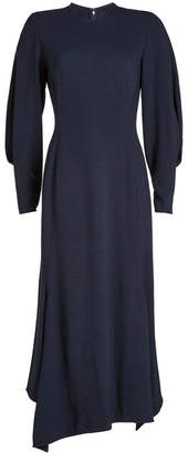 Victoria Beckham Draped Sleeve Asymmetric Midi Dress