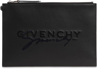 Givenchy Large Flocked Logo Leather Pouch