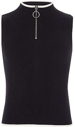River Island Girls Navy rib knit zip neck tank top