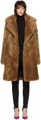 Yves Salomon Meteo Brown Curly Shearling Coat