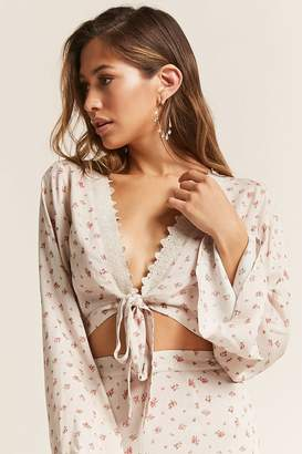 Forever 21 London Rose Floral Flare-Sleeve Crop Top