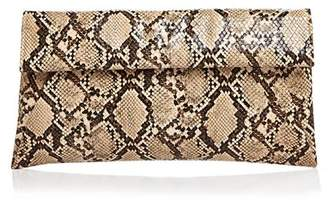 Aqua Snake-Embossed Foldover Clutch - 100% Exclusive