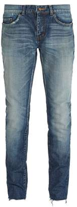 Saint Laurent Distressed Slim Fit Jeans - Mens - Blue