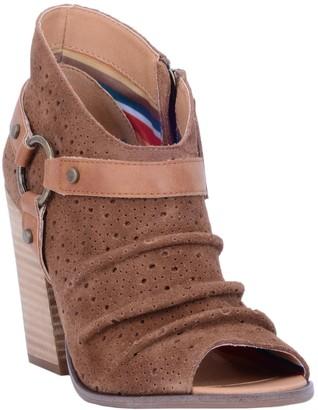 Dingo Leather Peep Toe Booties - Spurs