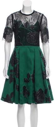 Elie Saab Embroidered Knee-Length Dress black Embroidered Knee-Length Dress