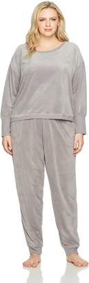 Hue Women's Plus Size Velour Long Sleeve Tee and Cuffed Jogger 2 Piece Lounge Set
