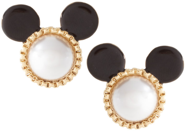 Disney Mawi Presents Minnie Gold Plated And Ivory Faux Pearl Stud Earrings With Black Enamel Ears