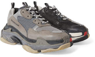 Balenciaga Triple S Mesh, Nubuck and Leather Sneakers - Gray