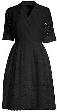 Donna Karan Women's Short-Sleeve Lace Eyelet Shirtdress