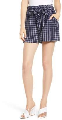 BP Plaid Paper Bag Waist Shorts