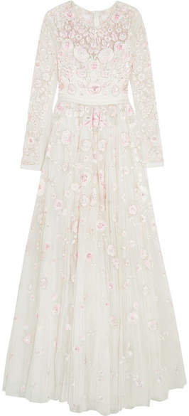 Needle & Thread - Rosette Embellished Embroidered Tulle Gown - Ivory