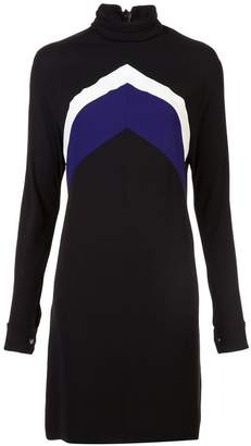 Derek Lam Long Sleeve Mock Neck Chevron Dress
