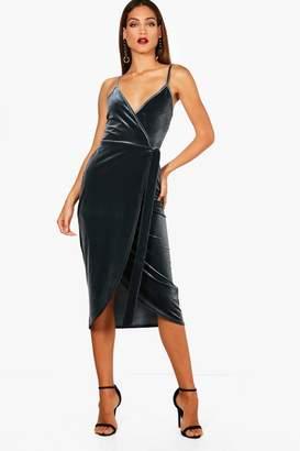 boohoo Tall Megan Wrap Velvet Dress