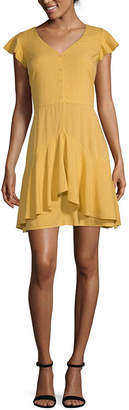 EYESHADOW GIRLS Eyeshadow Short Sleeve Party Dress-Juniors Short