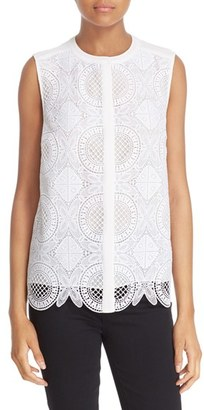 Diane von Furstenberg 'Lakyn' Sleeveless Lace Front Blouse $268 thestylecure.com